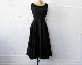 Early 1950s Black Fit and Flare Dress // 50s Black Taffeta L'Aiglon // Vintage 1950s Black Dress