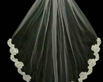 Beaded Partial Floral Lace Edge Fingertip Length Wedding Veil