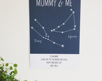 Personalised Stars Constellation Print | Mother's Day Gift | Wall Art | Modern Typography Print | Father's Day Gift |  Minimalist Print |