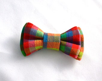 Rainbow Small Dog or Cat Collar Bow Tie or Bow//Pet Gift//Rainbow Check//Linen Bow Tie//Collar Bow Tie//Linen Bow//Collar Bow//Gay Pride Bow