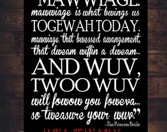 Princess Bride Movie Quote Mawwiage Art Print Personalized Canvas