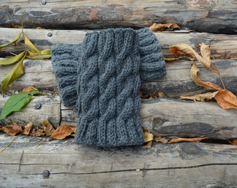 Hand Knitted Wool Boot Cuffs #2, Grey cuffs, gREY Boot Cuffs, Leg Warmers, Boot Toppers