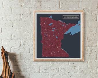 Twins Edition - Minnesota Map print