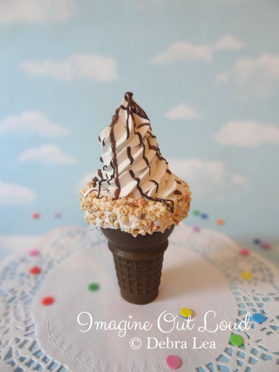 Fake Ice Cream Realistic Beautiful Gourmet Faux Ice Cream Cone Chocolate Vanilla with Nuts Handmade Hand Painted