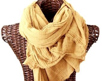 Custard Gold Nomad Scarf, Hand Dyed Extra Large Mustard Scarf, Womens Mens Gold Scarf, Fall Winter Cotton, Lightweight Gauze, Light Amber