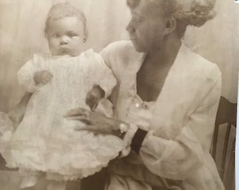 Mama and her  baby  Vintage photograph-Black Americana