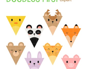 Animal Party Flags Digital Clip Art for Scrapbooking Card Making Cupcake Toppers Paper Crafts