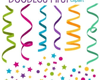 Party Ribbon and Confetti Clip Art for Scrapbooking Card Making Cupcake Toppers Paper Crafts