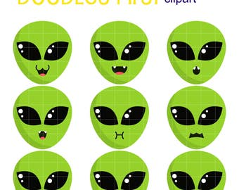 Kawaii Alien Facial Expressions  Digital Clip Art for Scrapbooking Card Making Cupcake Toppers Paper Crafts