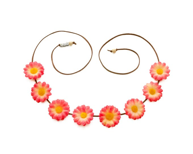 Coral Yellow Daisy Flower Crown