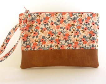 iPhone 7 Plus Wallet, Smartphone Pouch, Floral Wallet, Fabric Wristlet, Cell Phone Case