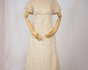 Cream Lace Dress in the Style of Jane Austen and Pride and Prejudice