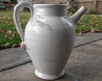 Beautiful White Pine Earthenware Pitcher