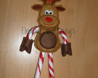Rudolf Candy Cane Holder Embroidery design file