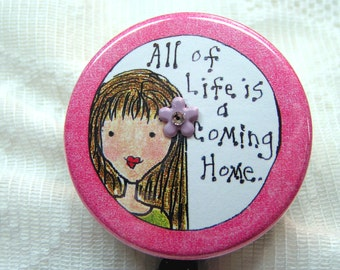 pretty pink id badge holder,id badge with quote,badge holder with attached charm,pink id badge reel for woman,id badge clip