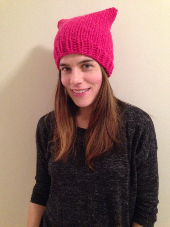 READY TO SHIP bright pink pussy hat 100% wool soft and warm chunky hand knit