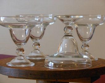 Four Clear Glass Beaded-Stem Margarita Glasses