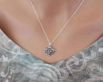 Sterling Silver Sweet 16 Heart Charm Necklace with Antique Finish, Sweet Sixteen Heart Necklace with Antique Finish, 16th Birthday Necklace