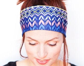 Blue Headband Workout Headband Running Headband Fitness Headband Boho Headband Nonslip Headband Wide Headband Women's Accessories