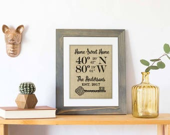 New Home Housewarming Gift, Our First Home, House Warming Gift, Latitude Longitude Sign, Address Sign Coordinates, Real Estate Gift Burlap