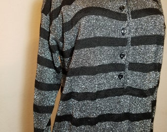 FREE  SHIPPING  Vintage Silver Metallic Tunic  Sweater