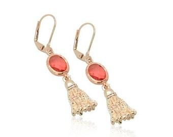 Rose gold tassel earrings, Rose gold bridal jewellery, Best bridesmaid gifts, Pink crystal earrings, Leverback earrings, Best weddings gifts
