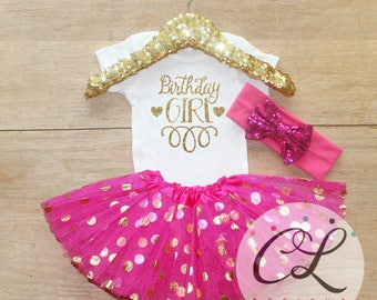 First Birthday Outfit / Baby Girl Clothes 1 Year Old Tutu Outfit One Birthday Set 1st Birthday Girl Outfit Baby Tutu Bow Outfit Set 045