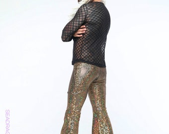 Mens Holographic Flares with Pockets | 13 Colors | Burning Man Costume, Mens Festival Clothes, Burning Man Outfit, Bell-Bottoms, Rave, EDM