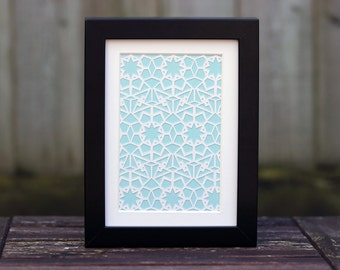 Star Repeat Geometric Paper Cut - 5x7 Inch (Other Colours Available)
