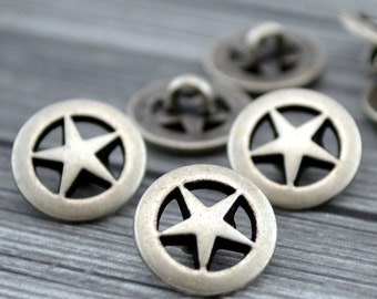 """TEXAS STAR Metal Buttons, Antique Silver Button, 5/8"""" Five Pointed Star 15mm, Qty 4 to 24, For Leather Wrap Clasps, Western Cowboy Clothing"""