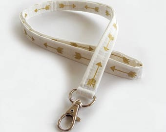 Arrow Lanyard / White & Gold / Boho Keychain / Bohemian / Shimmering Gold / Key Lanyard / Tribal / ID Badge Holder / Fabric Lanyard