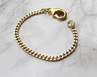Gold Micro Curb Stacker / Gold Plated Chain / Curb Chain / Stacking Bracelet / Arm Candy / Layering Jewelry