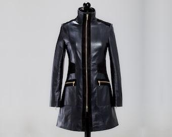 Leather coat, stylish leather coat, waisted coat, long coat, womens coat, fashion coat, black coat, genuine leather coat, winter coat
