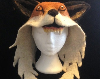 Fox hood - felted fox hat - animal hat with ears - festival costume - creative headgear