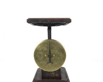 Antique Brass Scale Old Metal Scale 1940s Industrial Metal Scale Old 1940s Brass Face Chipped Paint Scale Primitive Scale