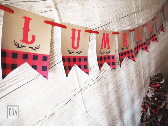 New** Lumberjack Buffalo Check Personalised  BUNTING -PRINTABLE Pdf Digital
