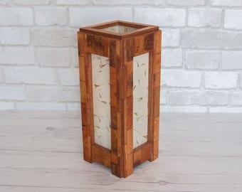 Wood lamp. Reclaimed wood. Lighting. Bedroom lamp. Table lamp. Living room lamp. Zen lighting. Rustic lamp by Ecokazen.