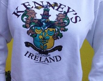 Vintage Kenney's Whiskey Sweatshirt White Ireland Medium 1989 Fine Ales Irish Jumper