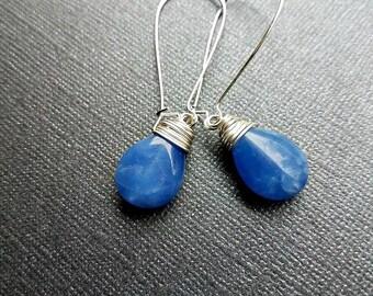blue chalcedony teardrop earrings on silver-dangle blue chalcedony earrings-blue gemstone earrings-wire wrapped earrings