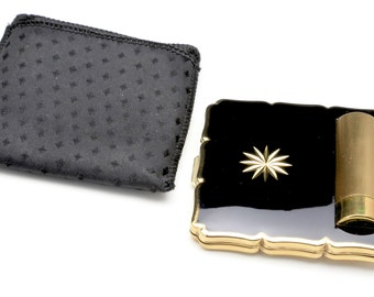 Vintage Stratton Black and Gold Lipstick and Powder Compact With Bag Never Used