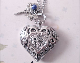 Dragonfly Heart Watch Necklace, Blue Pearl Dragonfly Heart Watch Necklace, Silver Filigree Heart Watch Pendant, Romantic Gift for Her