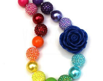 Rainbow Chunky Necklace - Children's Necklace - Bubblegum Necklace - Kid's Jewelry - Kid's Necklace - Girl's Bubblegum Jewelry - Rainbows