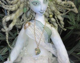 Pearl, OOAK mermaid cloth art doll