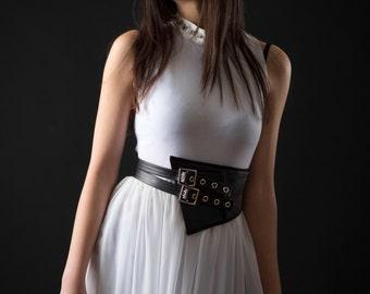 Asymmetric Leather Corset Belt