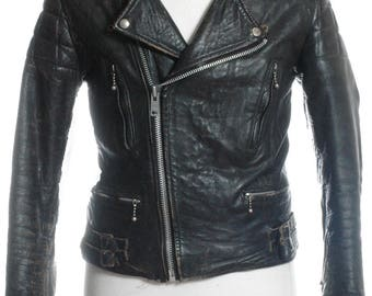 Vintage 1970's Black Leather Biker Jacket M - www.brickvintage.com