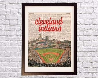 Cleveland Indians Dictionary Art Print - Progressive Field - Print on Vintage Dictionary Paper - Baseball Art - Gift For Him - Jacobs Field