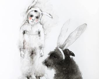 Original Watercolor painting Boy and Dog. Watercolor mixed media painting. Dog watercolour illustration. Dog watercolor wall art.