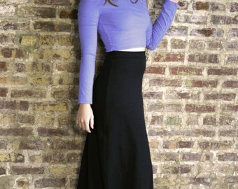 Crop Top with Long Sleeves - Hemp and Organic Cotton Stretch Jersey