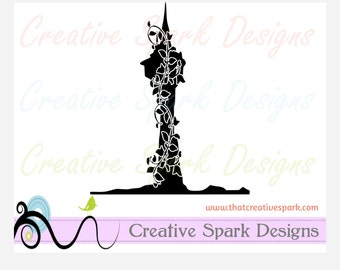 Rapunzel Fairy Tale Tower with Vines Silhouette Digital SVG image for die cutting, vinyl, wall decal, kids, Disney, crafts, home decor