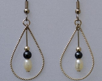 Onyx and Pearl sterling earrings
